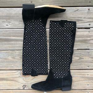 MICHAEL MICHAEL KORS Black Suede Grommet Boots